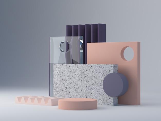 Cena com formas geométricas para mostrar produtos cosméticos. Foto Premium