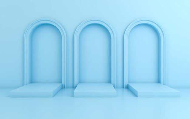 Cena com fundo mínimo, arco com um pódio, render 3d Foto Premium