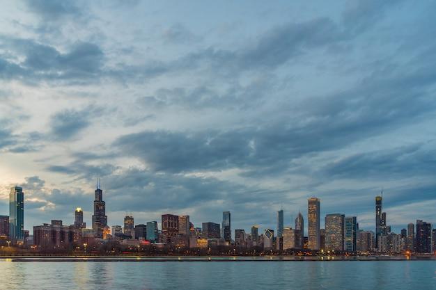 Cena, de, chicago, cityscape, rio Foto Premium