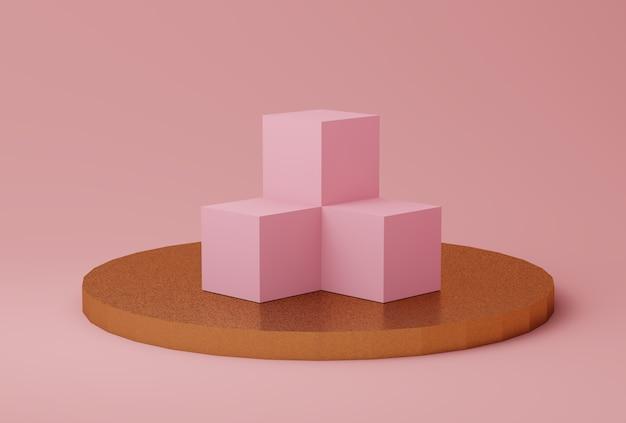 Cena de cor rosa e ouro abstrata com formas geométricas Foto Premium
