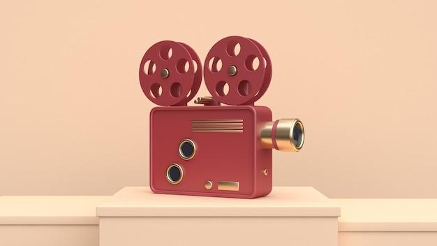 Cena de creme de projetor de cinema ouro vermelho conceito de tecnologia de render 3d Foto Premium