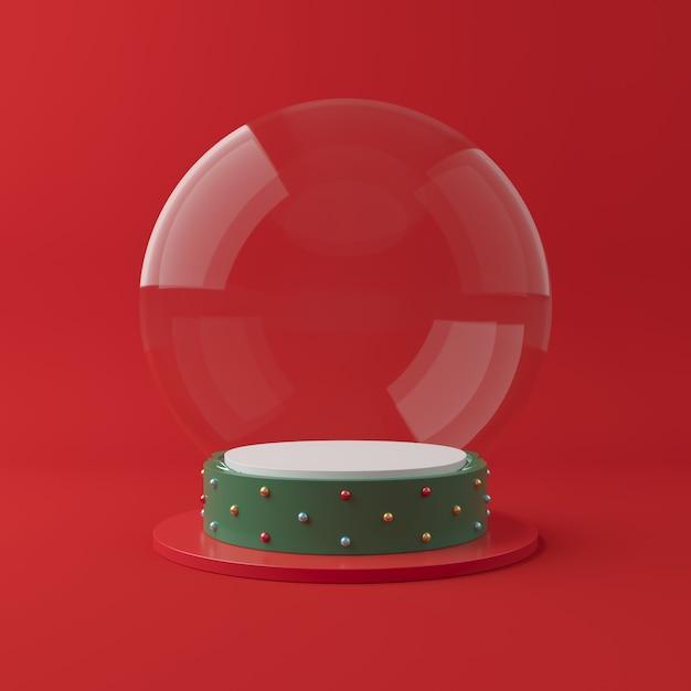 Cena de natal com pódio de forma geometria Foto Premium
