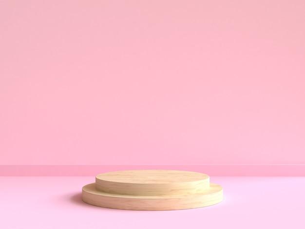 Cena de parede em círculo mínimo pódio madeira rosa renderização em 3d Foto Premium