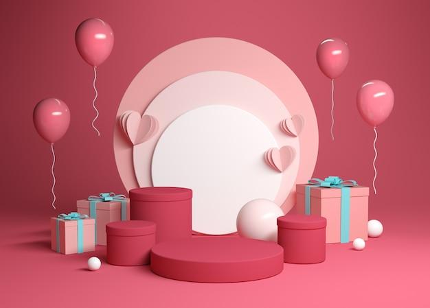 Cena de plataforma de celebração abstrata com caixa de presente 3d render Foto Premium