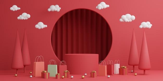 Cena de simulação mínima. pódio, pedestal, plataforma, palco para exposição de produtos cosméticos Foto Premium