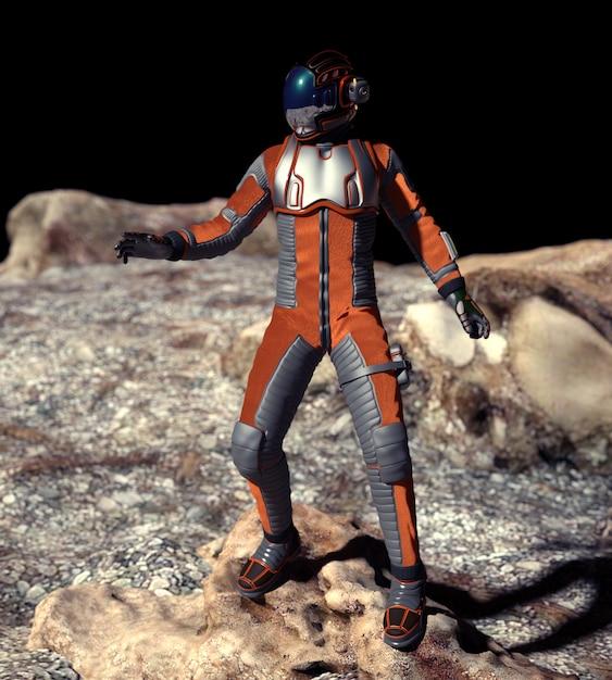 Cena do astronauta em marte - ilustração 3d Foto Premium