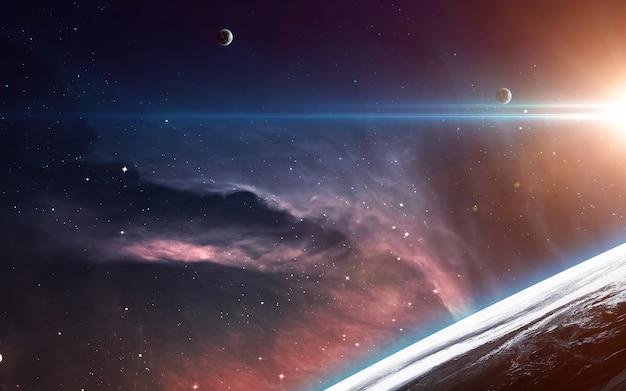 Cena do universo com planetas, estrelas e galáxias no espaço sideral, mostrando a beleza da exploração espacial. Foto Premium