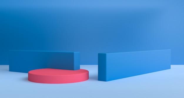 Cena geométrica da forma estilo mínimo, rendição 3d. Foto Premium