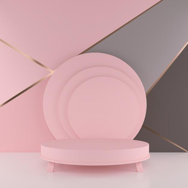 Cena mínima da rendição 3d com pódio. forma geométrica em tons pastel. Foto Premium