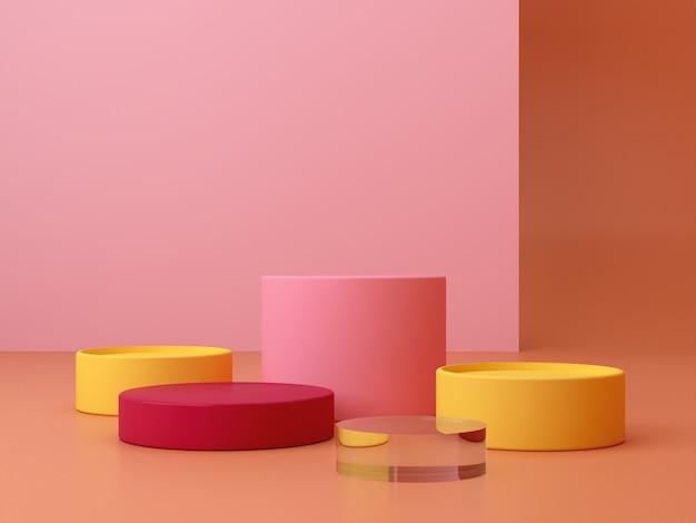 Cena mínima. pódio do cilindro. formas geométricas. cena com formas geométricas Foto Premium