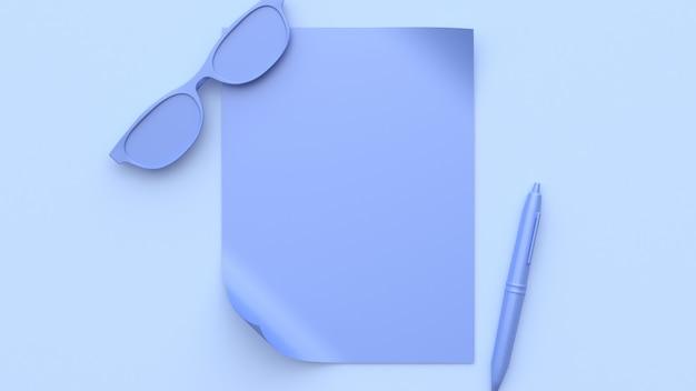 Cena roxa-violeta abstrata todos os objetos em branco papel óculos caneta renderização em 3d Foto Premium