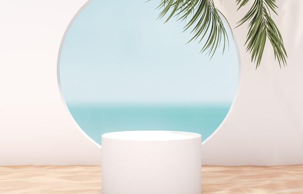Cenário de praia verão natural com cilindro branco e palmeira para exposição do produto Foto Premium