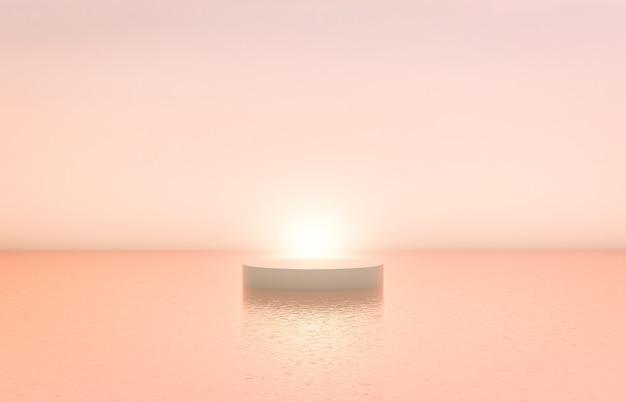 Cenário natural do pódio da beleza com a caixa do cilindro para a exposição cosmética do produto. Foto Premium
