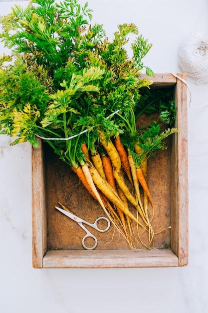 Cenouras de legumes frescos sujos de raízes em caixa de madeira em fundo de mármore, vista plana leigo, topo Foto Premium