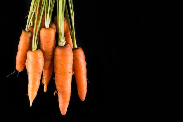 Cenouras em fundo preto com espaço de cópia Foto gratuita