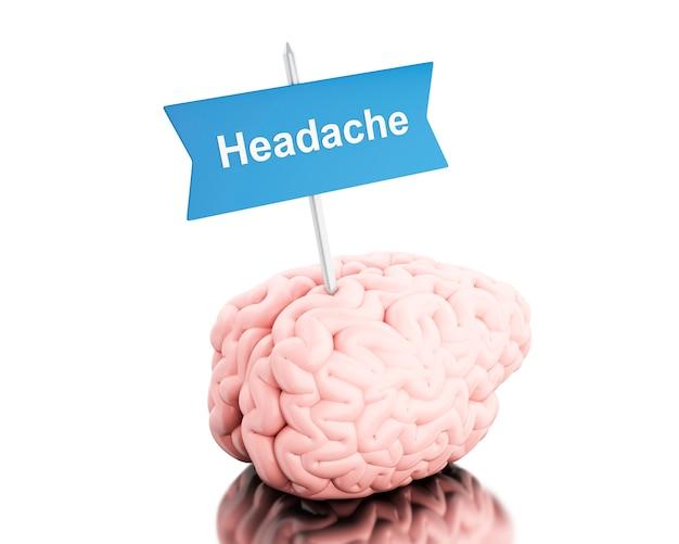 Cérebro 3d com uma tabuleta e dor de cabeça da palavra. Foto Premium