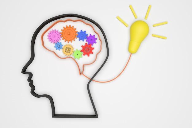 Cérebro 3d e engrenagens para mecanismo de conceito boa ideia para banheira de luz Foto Premium