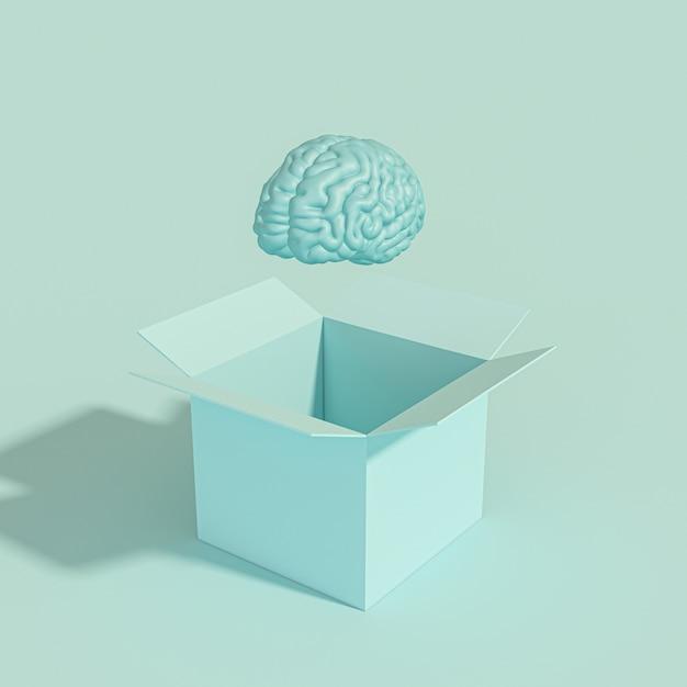 Cérebro humano saindo de uma caixa Foto Premium