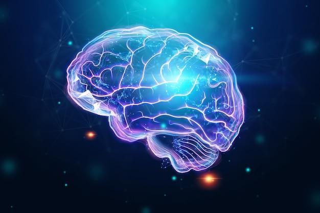 Cérebro humano, um holograma, um fundo escuro. Foto Premium
