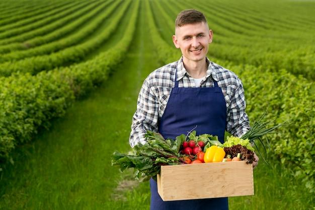 Cesta de exploração do homem com legumes Foto gratuita
