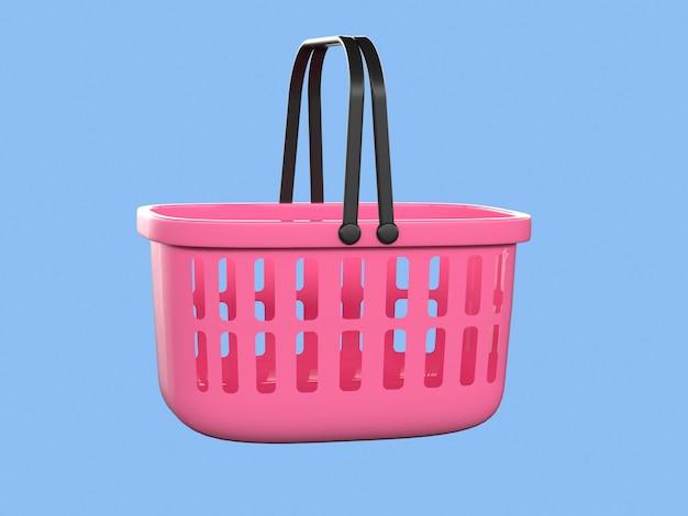 Cesta rosa compras conceito de negócio 3d render Foto Premium