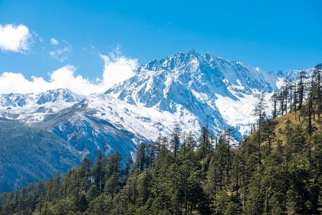 Céu azul de montanha de neve Foto Premium