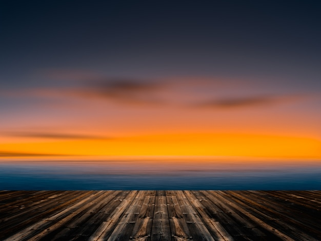 Céu azul e nuvens do vintage com fundo de madeira velho do assoalho. Foto Premium
