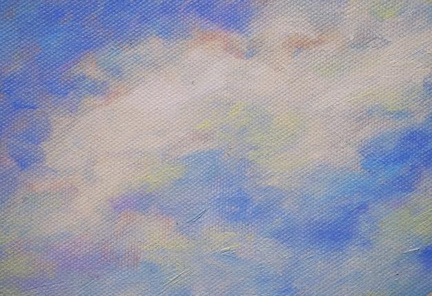 Céu colorido da pintura a óleo com fundo e textura do sumário da nuvem. Foto Premium