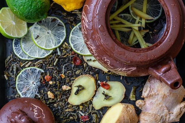 Chá com limão e gengibre Foto Premium