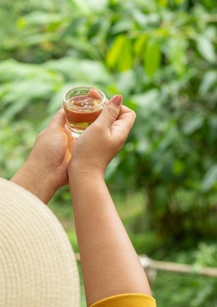 Chá quente na mão de manhã em meio à natureza refrescante Foto Premium