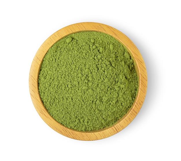 Chá verde em pó na tigela Foto Premium