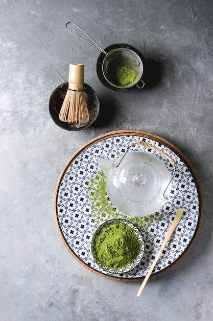Chá verde matcha em pó Foto Premium