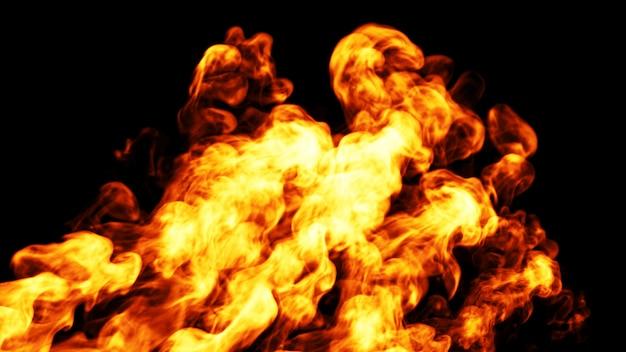 Chama dinâmica de fogo. 3d. Foto Premium