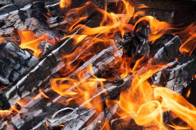 Chama e queima de lenha e carvão close-up Foto Premium