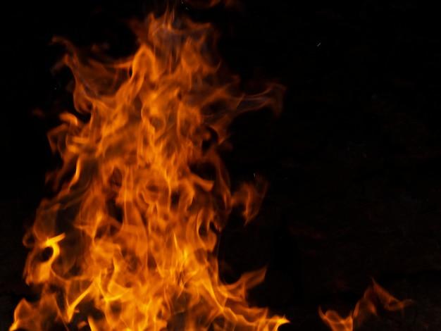 Chamas de fogo dinâmicas em fundo preto Foto Premium