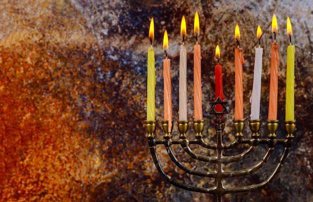 Chanucá menorah chanukiah judaico fundo de férias Foto Premium