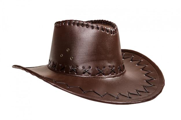 Chapéu de cowboy de couro marrom isolado no fundo branco Foto Premium