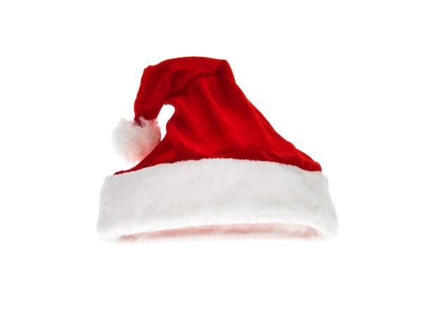 Chapéu vermelho de santa isolado no fundo branco Foto gratuita