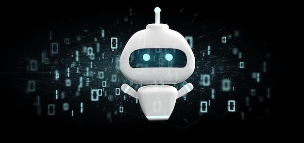 Chatbot com código binário de renderização em 3d Foto Premium