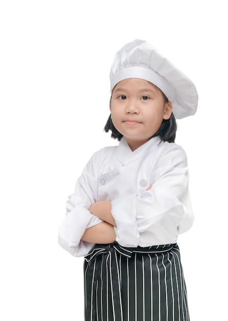 Chef linda garota com chapéu de cozinheiro e avental isolado Foto Premium