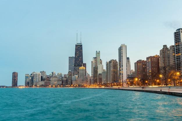 Chicago ao entardecer Foto Premium