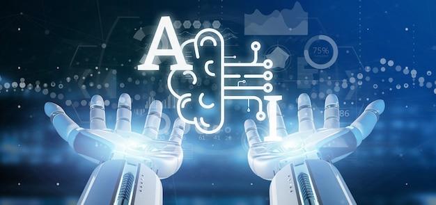 Ciborgue, mão, segurando, inteligência artificial, ícone, com, metade, cérebro, e, meio, circuito, 3d, fazendo Foto Premium