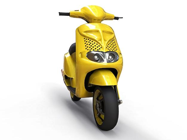 Ciclomotor amarelo urbano moderno em um fundo branco Foto Premium