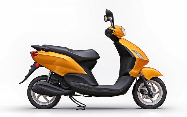 Ciclomotor laranja urbano moderno em um fundo branco Foto Premium