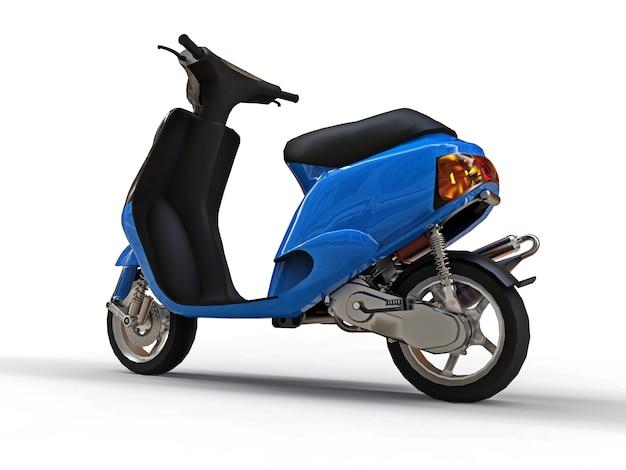 Ciclomotor preto e azul urbano moderno em uma superfície branca Foto Premium