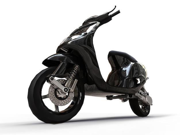 Ciclomotor preto urbano moderno em um fundo branco. ilustração 3d Foto Premium