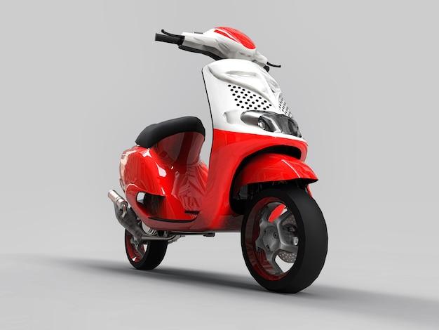 Ciclomotor vermelho e branco urbano moderno em uma luz - fundo cinzento. ilustração 3d Foto Premium