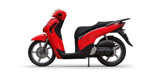 Ciclomotor vermelho urbano moderno em um fundo branco Foto Premium