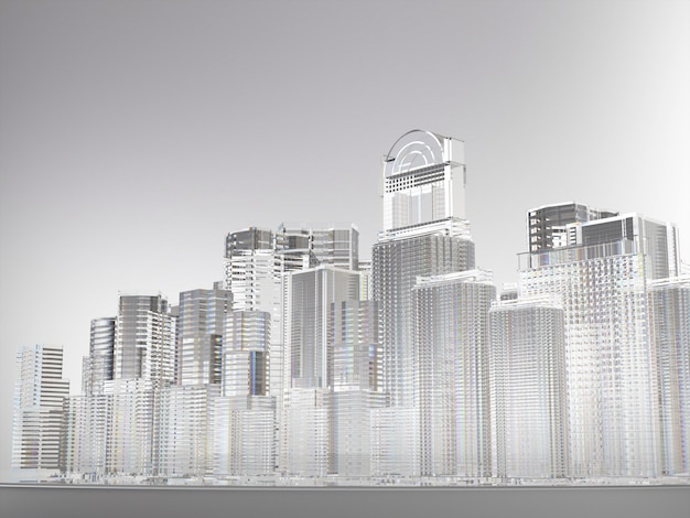 Cidade abstrata de edifícios feitos de vidro Foto Premium