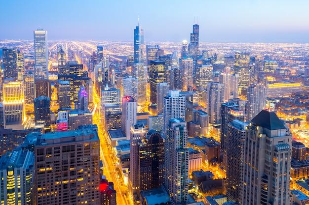 Cidade aérea de chicago no centro Foto Premium